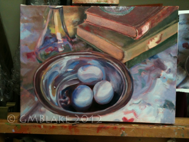 Blue Eggs, Silver Bowl - stage 4