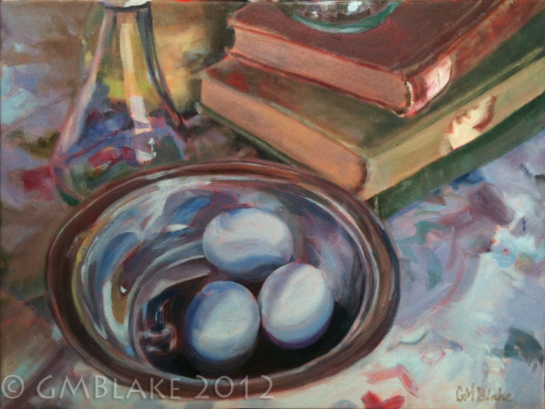 Blue Eggs, Silver Bowl - finis!