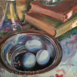 Blue Eggs, Silver Bowl - 16 x 12 in., oils on canvas