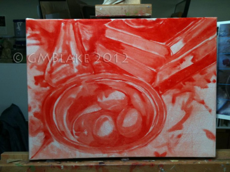 Blue Eggs, SilverBowl - stage 1: cad red underpainting