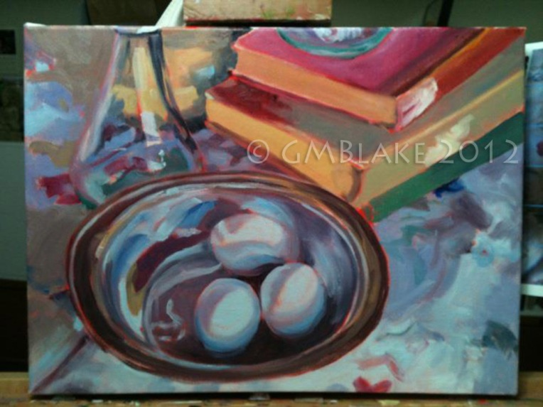 Blue Eggs, Silver Bowl - stage2: initial color block-in