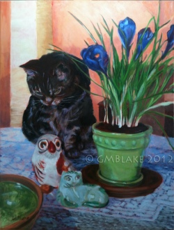 Cat, Owl, Pussycat - 18 x 24 in., oils on canvas