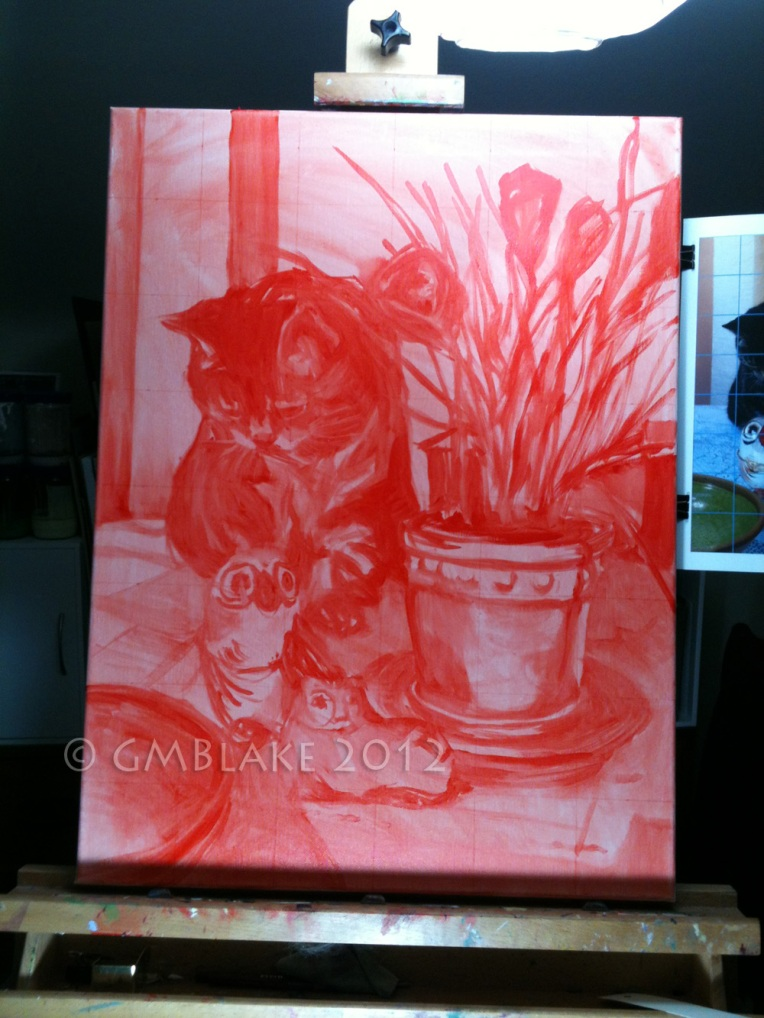 Cat, Owl, Pussycat - stage 1: cadmium red underpainting