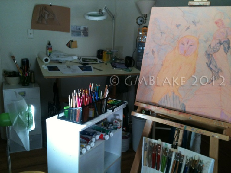 Owl and Stone Goddess, stage 5, in studio