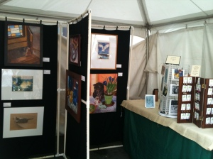 My art, cards, and earrings at Binghamton July Fest