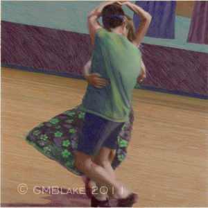 Contradance 2, by Glenda Blake - colored pencil on digital collage, 7.5 x 7.5 in.