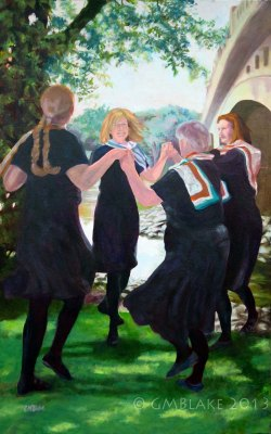 Unlikely Dance: Confluence - 30 x 48 in., oils on canvas