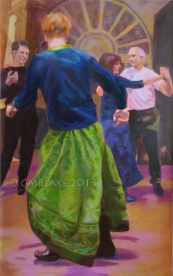 Unlikely Dance: Green Skirt - 30 x 48 in., oils on canvas