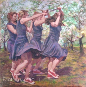 Spring Rites, by Glenda Blake - colored pencil on painted hardboard, 24 x 24 in.