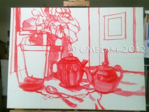 Blue Glass and Teapots_step1