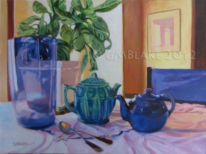 Blue Glass and Teapots