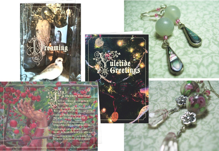 Cards and earrings from GreenBoat Design