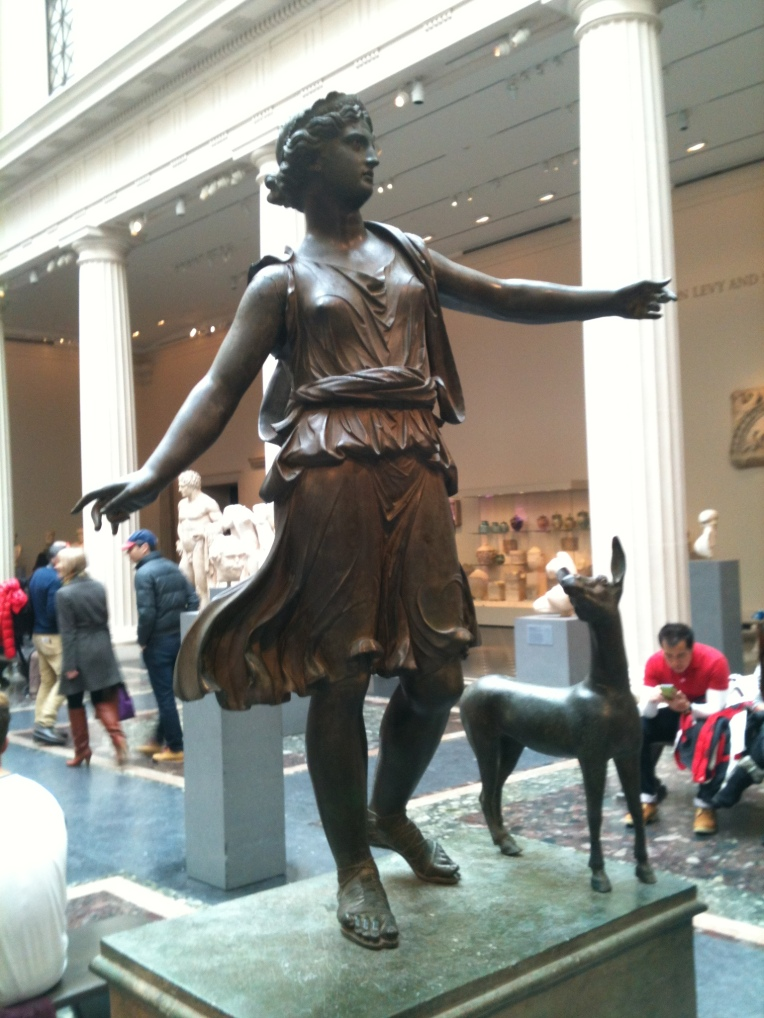 Bronze statue of Artemis and a deer - Greek or Roman, Late Hellenistic or early Imperial, 1st cent. BC or 1st cent. AD