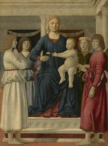 Piero della Francesca - Virgin and Child Enthroned with Four Angels, c. 1460-70, oil (and tempera?) on poplar panel, transferred to fabric on panel, The Sterling and Francine Clark Art Institute