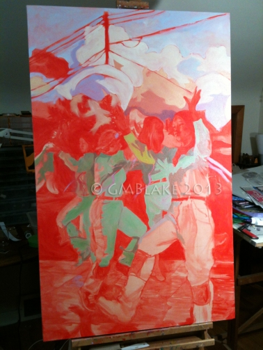 Whoa - next to the cadmium red underpainting, the green shadows look almost fluorescent!