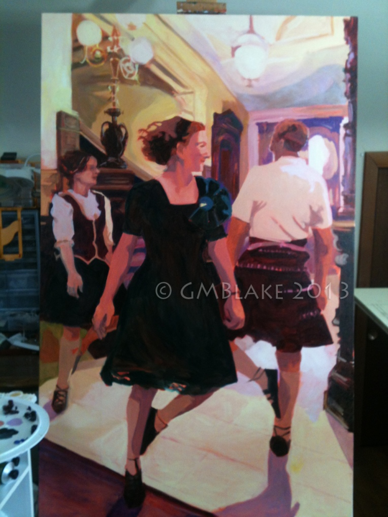Unlikely Dance: Entry Hall (unfinished) - 30 x 48 in., oils on canvas