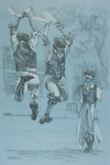 Dance Study: 2 and 1 - 11 x 16.5 in., colored pencil on laid blue pastel paper