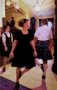 Unlikely Dance: Entry Hall - 30 x 48 in., oils on canvas