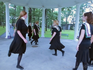 The Ballyclare Irish Dancers, in the bandstand at Recreation Park