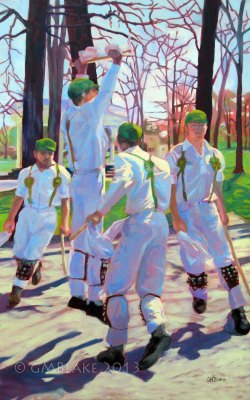 Unlikely Dance: Beethoven Oaks - 30 x 48 in., oils on canvas