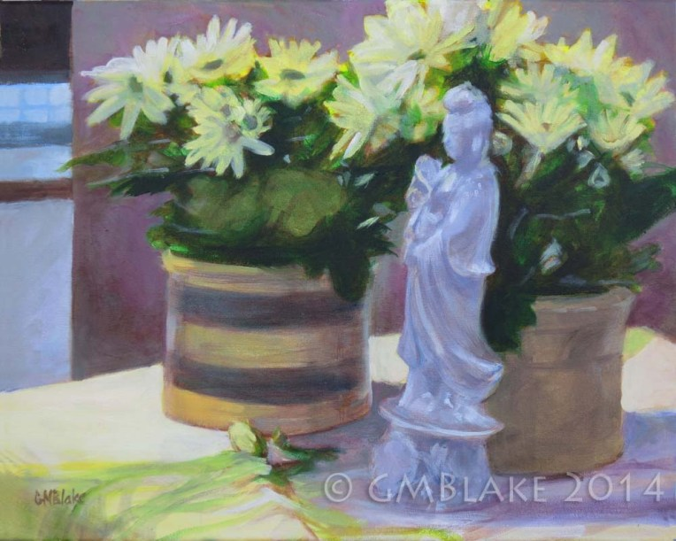 KwanYin and Chrysanthemums, 20x16 in., oils on canvas