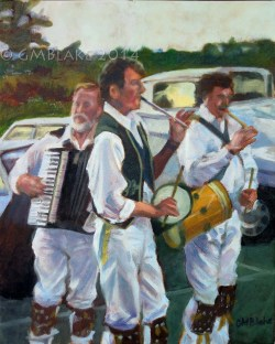 Three Musicians -- oils on canvas, 16 x 20 in.