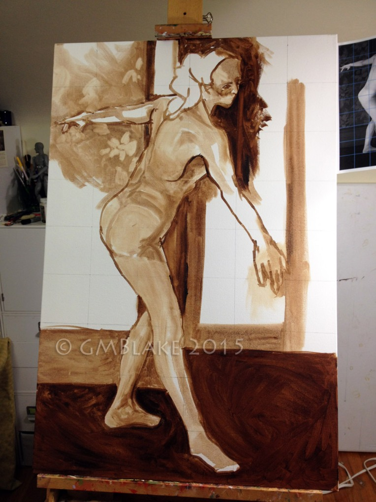 Unfinished underpainting for the first painting in an as-yet untitled series of nudes