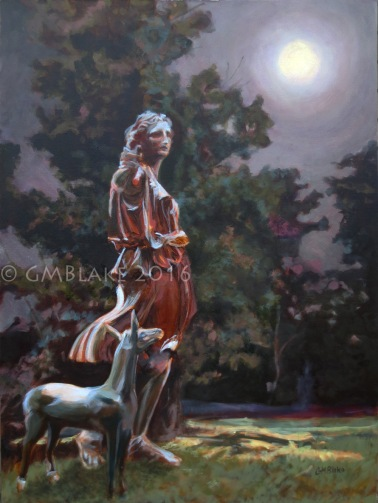 Moon Watcher - 30 x 40 in., oil on canvas